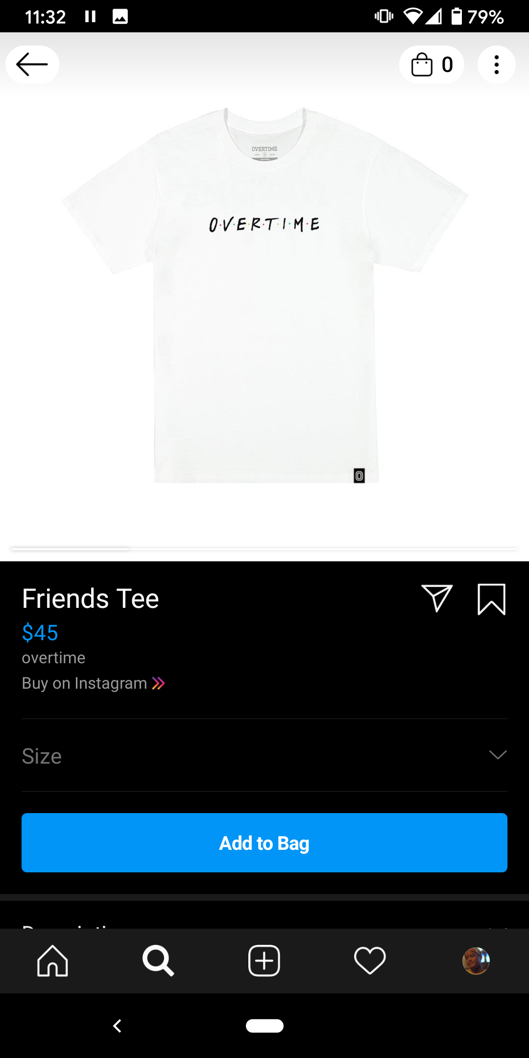 Instagram Shop UI- you can add directly to your IG bag